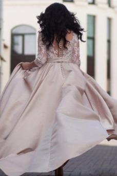 Vestido de novia Cremallera Mangas Illusion Encaje Manga de longitud 3/4