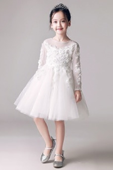 Vestido niña ceremonia Joya Encaje Capa de encaje Cremallera Camiseta Hasta la Rodilla