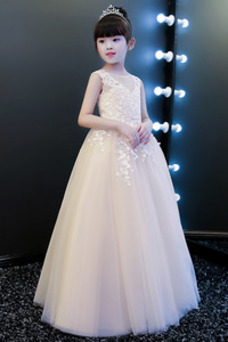 Vestido niña ceremonia Formal Encaje Natural Cola Barriba Capa de encaje Sin mangas