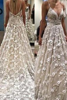 Vestido de novia Verano Moderno Espalda Descubierta Corte-A Falta Natural
