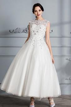 Vestido de novia Sin mangas Corpiño Acentuado con Perla Barco Espalda Descubierta