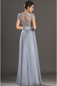 Vestido de fiesta Encaje en Blusa plisada Imperio Cintura Cinturón de cuentas