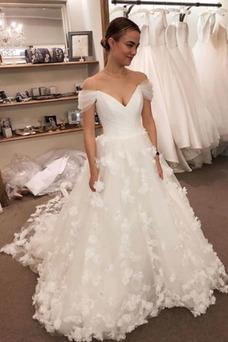 Vestido de novia Rosetón Acentuado Natural Iglesia Cremallera Flores