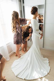 Vestido de novia Manga larga Triángulo Invertido Satén Sala Abalorio