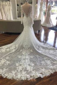Vestido de novia Elegante Capa de encaje primavera Espalda Descubierta