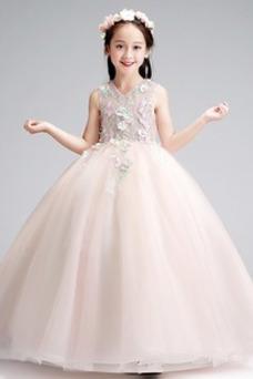Vestido niña ceremonia Falta Formal Corte-A Natural Hasta el Tobillo Apliques