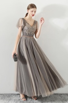 Vestido de fiesta Elegante Corte-A Natural Cordón tul Reloj de Arena
