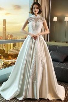 Vestido de novia Espalda con ojo de cerradura Sin mangas Abalorio Satén