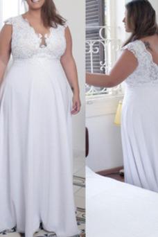 Vestido de novia Hasta el suelo Gasa Corte-A Fuera de casa Apliques