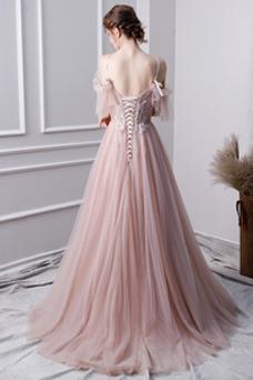 Vestido de fiesta tul Cordón Escote de Tirantes Espaguetis Elegante Corte-A