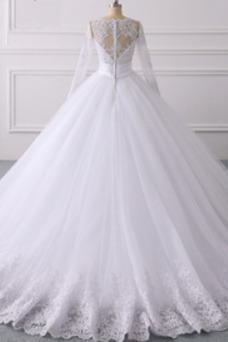 Vestido de novia Manga larga Sala Mangas Illusion Baja escote en V Encaje