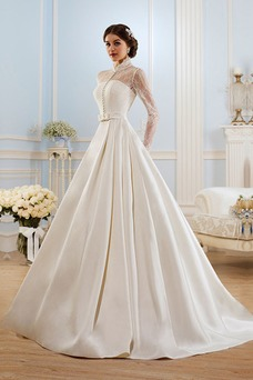 Vestido de novia Manga larga Escote con cuello Alto Modesto Sala Cordón