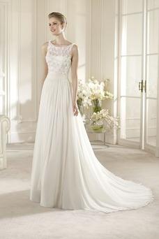 Vestido de novia Corte-A Fuera de casa Sin mangas Gasa Con velo Volantes Adorno