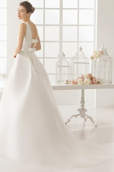 Vestido de novia Natural Corte-A Satén Sin mangas Barco Otoño