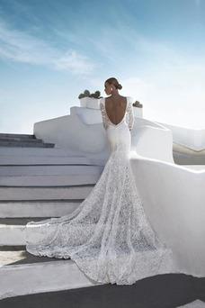 Vestido de novia Corte Sirena sexy Cola Catedral Mangas Illusion Natural