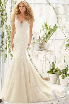 Vestido de novia Corte Sirena Otoño Natural Sin mangas vendimia Escote en V