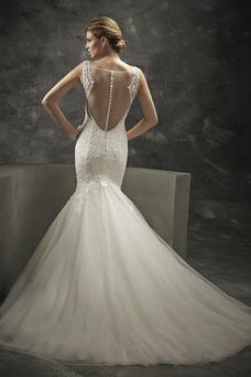 Vestido de novia sexy Sin mangas Corte Sirena largo Natural tul