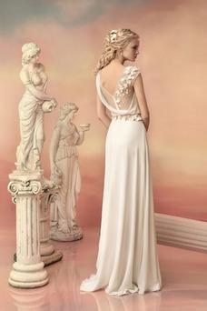 Vestido de novia Playa Sencillo Natural Gasa Flores Manga tapada