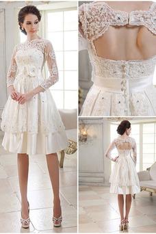 Vestido de novia Mangas Illusion Verano Botón Cremallera Barco Corte-A