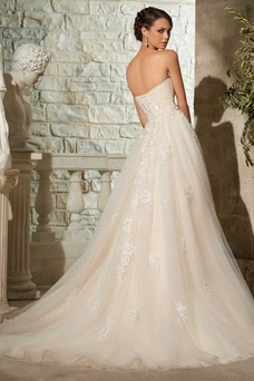 Vestido de novia Corte-A Escote Corazón Formal Iglesia largo Cremallera