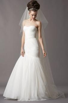 Vestido de novia Corte Sirena tul Cola Capilla Fuera de casa Cremallera