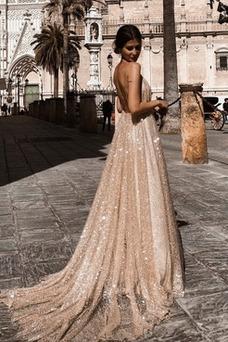 Vestido de noche Escote de Tirantes Espaguetis Corte-A Con lentejuelas