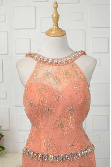 Vestido de fiesta Abalorio Corte-A Elegante Natural Encaje Rectángulo