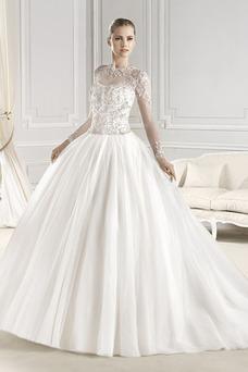 Vestido de novia tul Iglesia Con velo Cola Capilla Invierno Manga larga