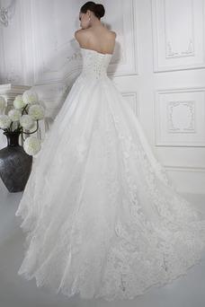 Vestido de novia Abalorio tul Natural Cola Capilla Cremallera Escote Corazón