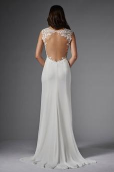 Vestido de novia Corte Recto Natural Barco Cremallera primavera Moderno