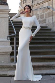 Vestido de novia primavera Apliques Natural Moderno largo Corte Recto