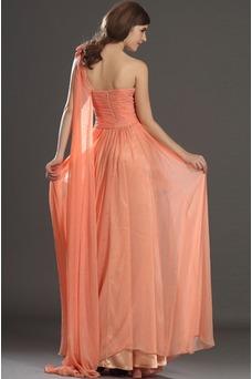 Vestido de noche Elegante Cremallera Gasa Hasta el suelo Flores Blusa plisada