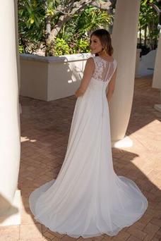 Vestido de novia Elegante Barco Cola Capilla Sin mangas primavera Gasa