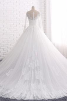 Vestido de novia Manga larga Joya Apliques Cremallera largo Corte-A