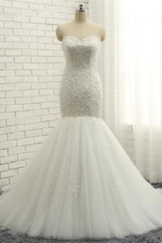 Vestido de novia Capa de encaje Apliques Sin mangas Escote Corazón Verano