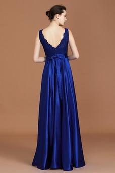 Vestido de dama de honor Elegante Fajas Escote en V Verano Corte-A Encaje