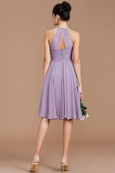 Vestido de dama de honor Sencillo Verano Corte-A Blusa plisada Corto Natural