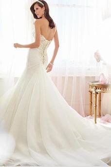 Vestido de novia Corte Sirena Cordón largo Apliques Sin mangas Moderno