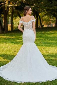 Vestido de novia Capa de encaje Corte Recto Encaje Escote con Hombros caídos