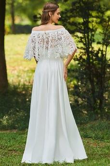 Vestido de novia Apliques Encaje Escote con Hombros caídos Tallas pequeñas