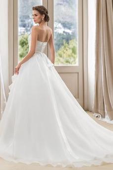 Vestido de novia Verano Blusa plisada Abalorio Espalda Descubierta Sala