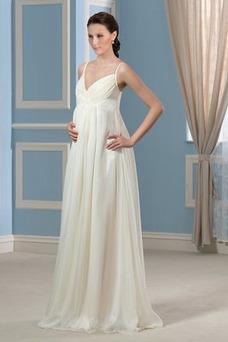 Vestido de novia Sencillo Dobladillos Verano Playa Imperio Cintura Cola Capilla