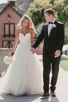 Vestido de novia Elegante Espalda Descubierta tul Drapeado Escote de Tirantes Espaguetis