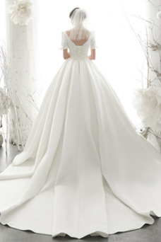 Vestido de novia Sencillo Escote en V Sala Manga corta Cordón Satén
