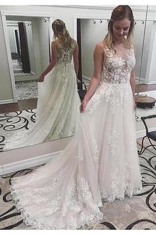 Vestido de novia sexy Natural Pura espalda Otoño tul Pera