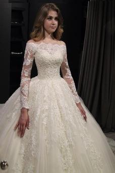 Vestido de novia Recatada Cremallera Corte-A Natural Escote con Hombros caídos