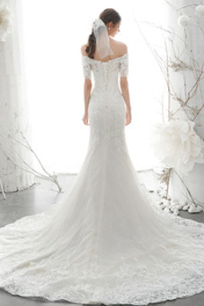 Vestido de novia Natural Encaje Camiseta Cordón Escote con Hombros caídos