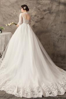 Vestido de novia Corte-A Cola Corte Mangas Illusion Natural Cordón Sala