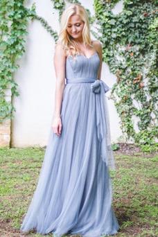 Vestido de dama de honor Corte-A tul Cremallera largo Sin mangas Plisado