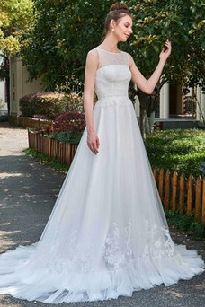 Vestido de novia Natural Barco largo Pura espalda Encaje Reloj de Arena